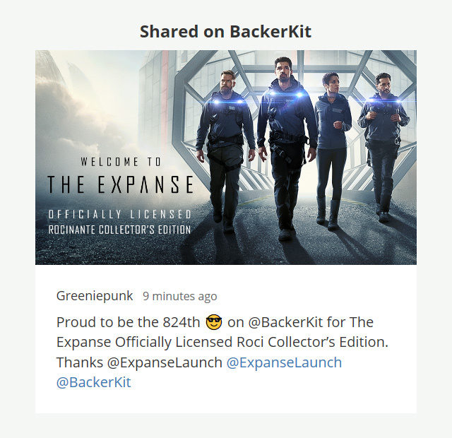 824th on BackerKit for The Expanse | Rizal Farok